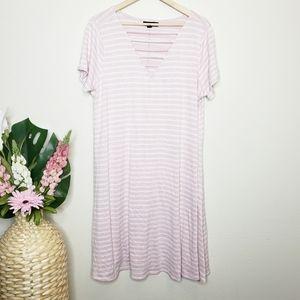 Lane Bryant Pink & White V-Neck Striped Dress
